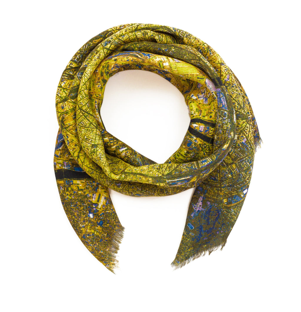 Paris, France yellow map print scarf in modal/cashmere blend. Perfect gift or souvenir for women and men.