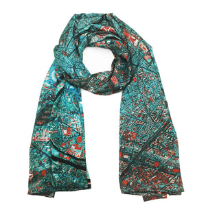 Paris, France blue map print scarf in satin/silk blend. Perfect gift or souvenir for women and men.