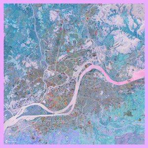 Pyongyang, North Korea map print scarf in modal/cashmere blend. Perfect gift or souvenir for women and men.