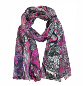 Rome, Italy map print scarf in silk. Perfect gift or souvenir for women and men.