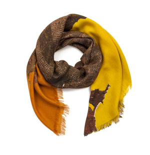San Francisco, California brown map print scarf in modal/cashmere blend. Perfect souvenir or gift for men and women.