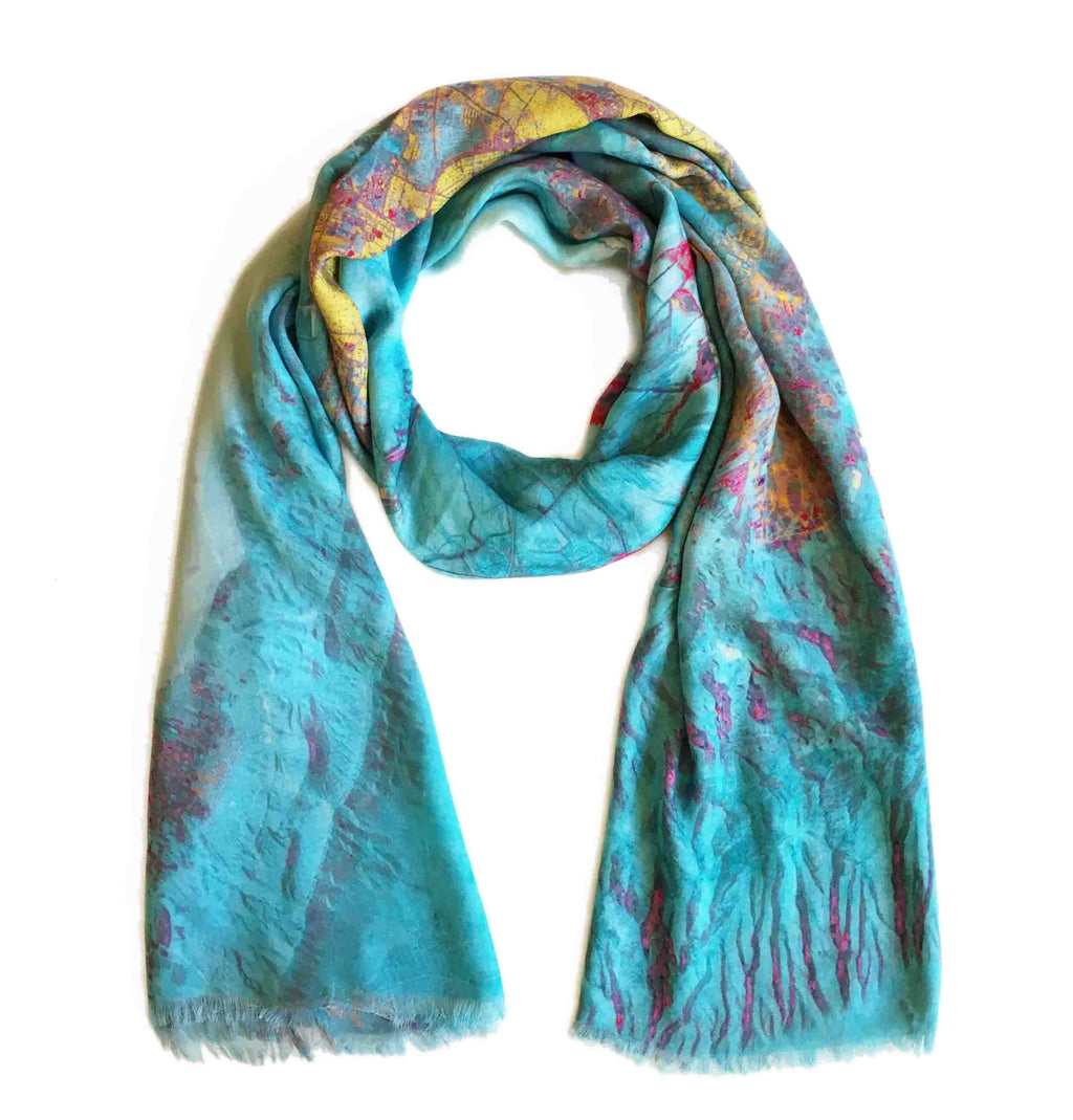 Shiraz, Iran map print scarf in modal/cashmere blend. Perfect gift or souvenir for women and men.