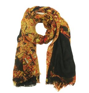San Juan, Puerto Rico map print scarf in modal/cashmere blend. Perfect gift or souvenir for women and men.