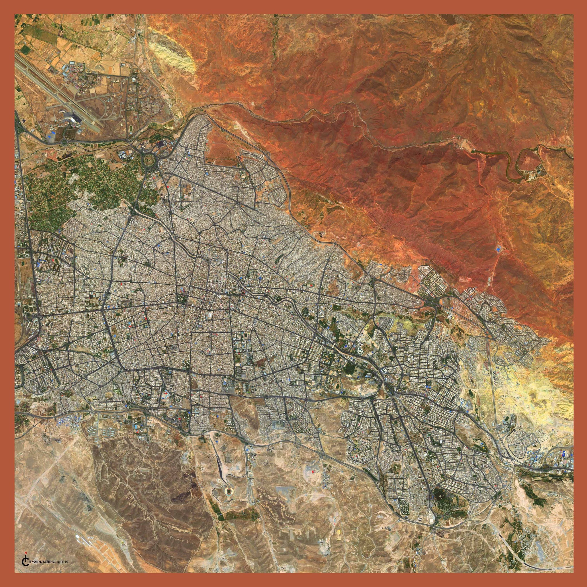 Tabriz, Azarbaijan print modal/cashmere scarf showing aerial view of the city and surrounding mountains