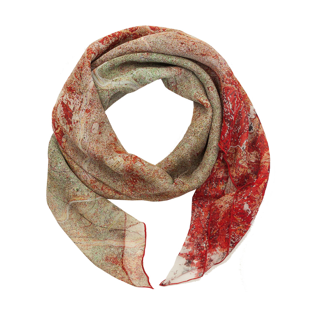 Tokyo, Japan map print scarf in silk. Perfect souvenir or gift for men and women.