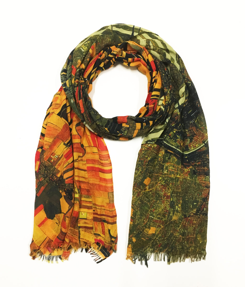 "Vienna, Austria map print scarf inspired by Gustav Klimt's ""The Kiss"". Perfect gift or souvenir for women and men."