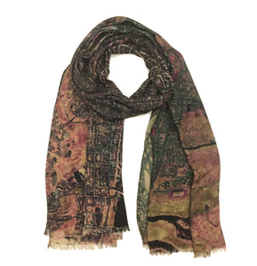 Washington D.C., USA brown map print scarf in silk. Perfect souvenir or gift for women and men.