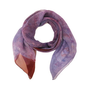 Doha, Qatar purple map print scarf in silk.