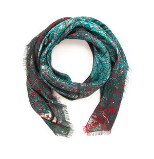 Paris, France blue map print scarf in modal/cashmere blend. Perfect gift or souvenir for women and men.