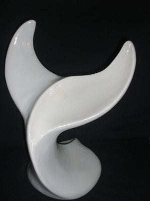 Whale Tail - Large - White  - Ceramic Sculpture