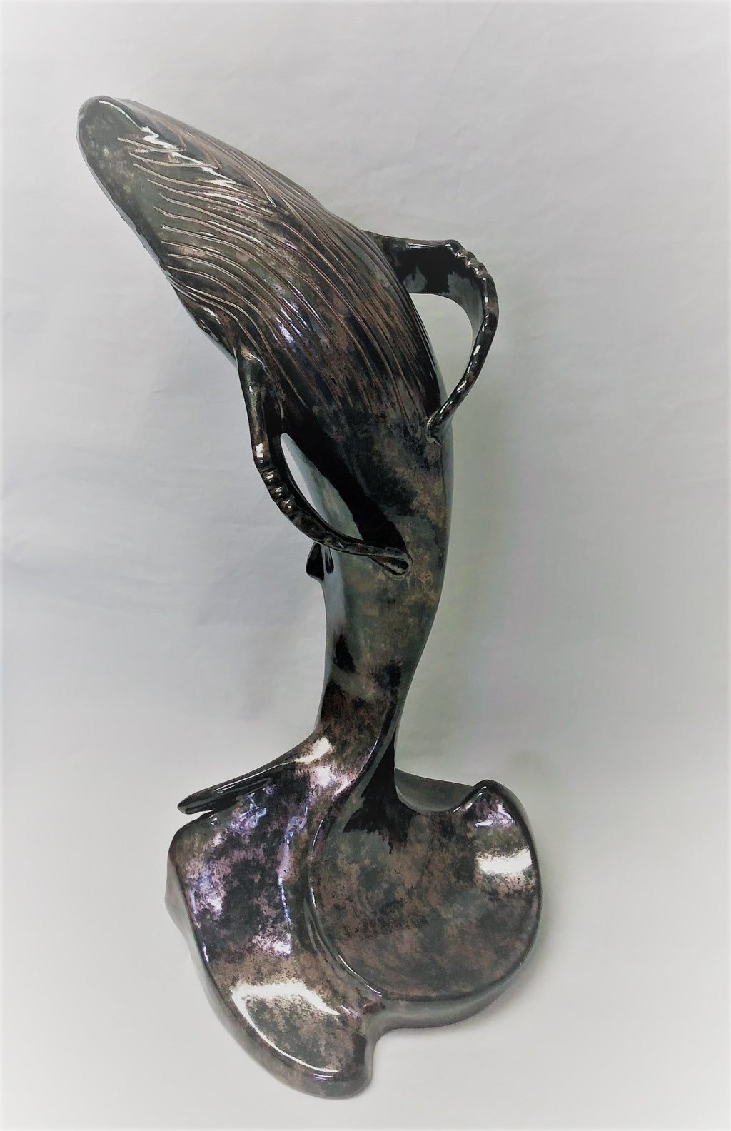 Breaching Out - Black Crackle Ceramic Sculpture