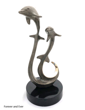 "Bronze Dolphin Sculpture - Joyful Life Series ""Forever and Ever"" 12"" tall"