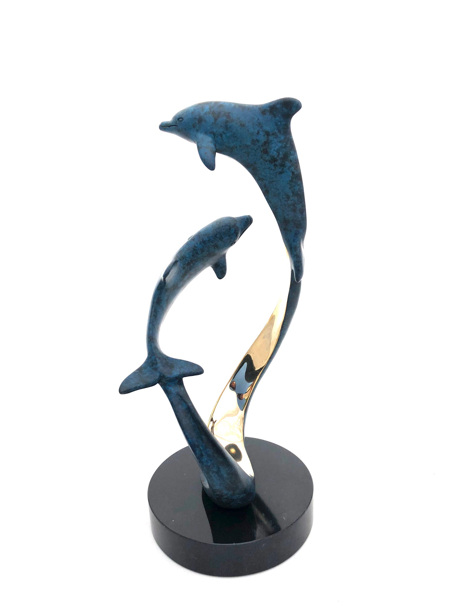 "Bronze Dolphin Sculpture - Joyful Life Series  ""Sentimental Journey"" 12"" tall"