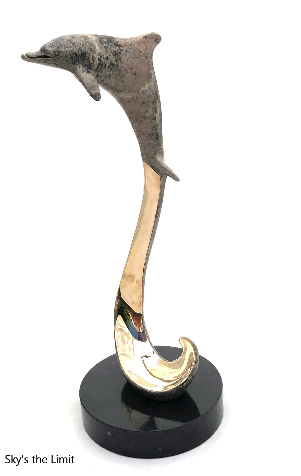 "Bronze Dolphin Sculpture - Joyful Life Series ""Sky's the Limit"" 12"" tall"