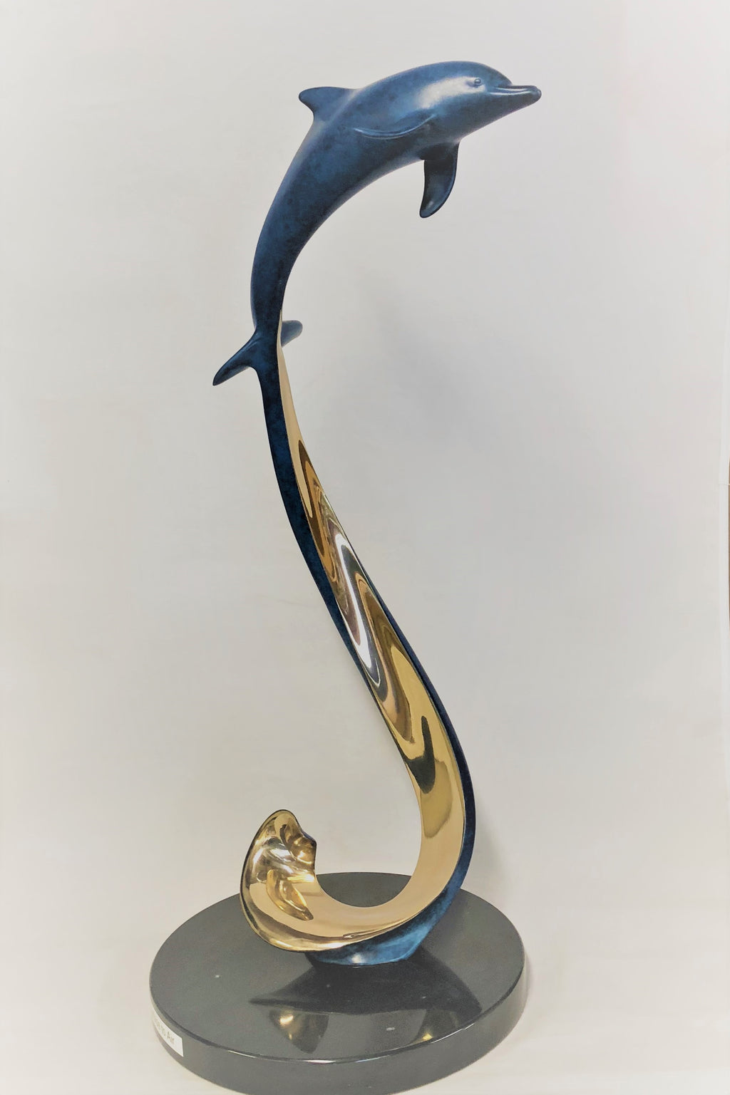"Bronze Dolphin Sculpture - ""Surface to Air""  Size: 19""h x  10""w"