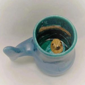 Left Handed - Whale Tail Mug with Otter Inside 12 oz