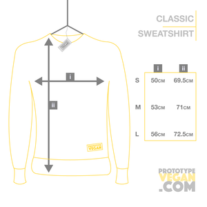 Prototype Vegan - Sweatshirt - Size Guide