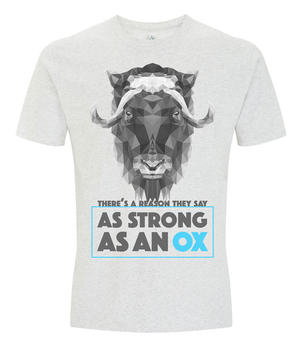 Prototype Vegan tee - Strong as an Ox - Unisex Melange White