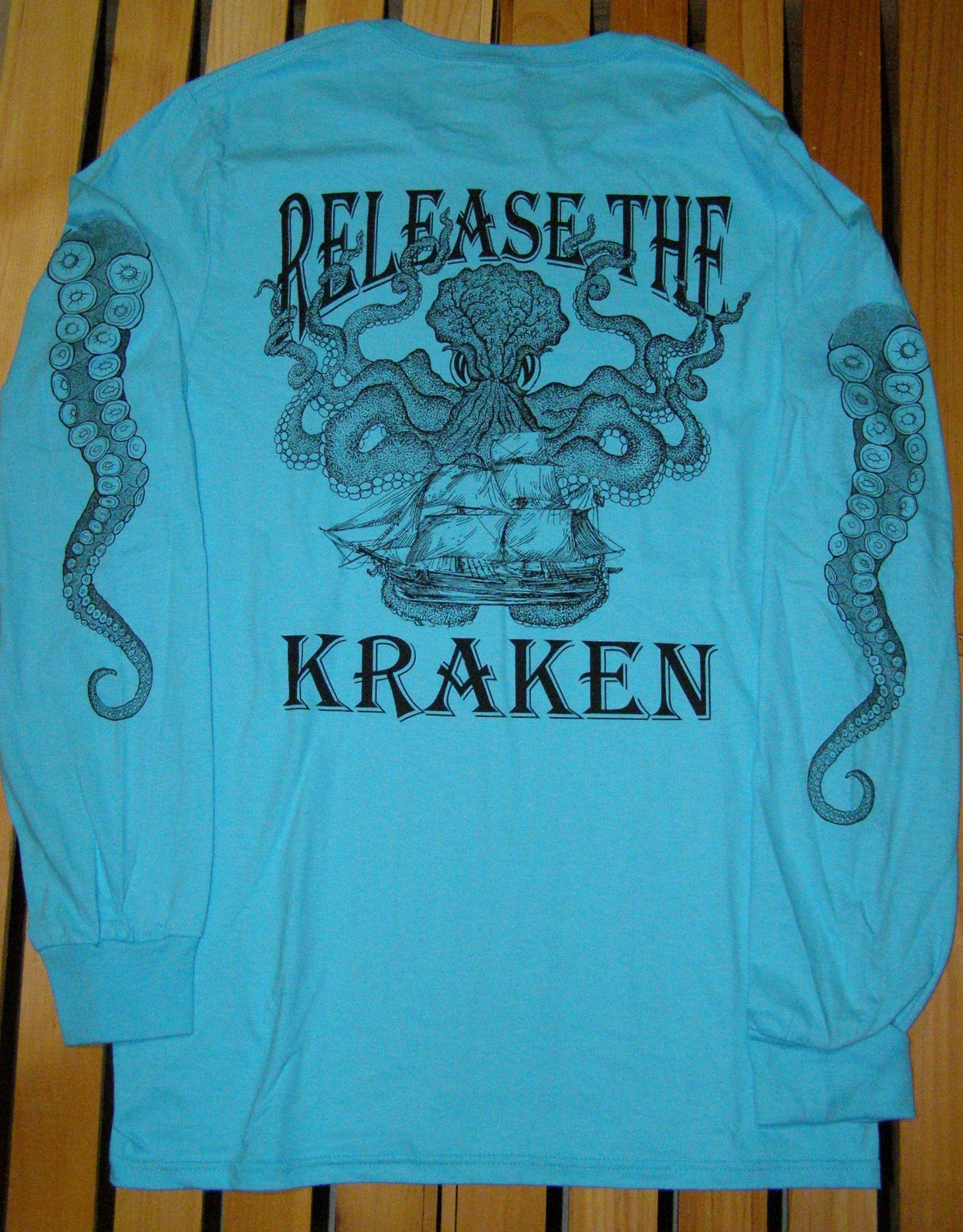 T-Shirt - Release the Kraken Scuba Blue LS