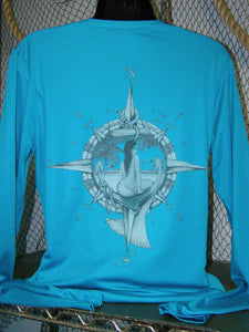 UV Blocking LS Tee - Nauti Mermaid Ladies V Neck