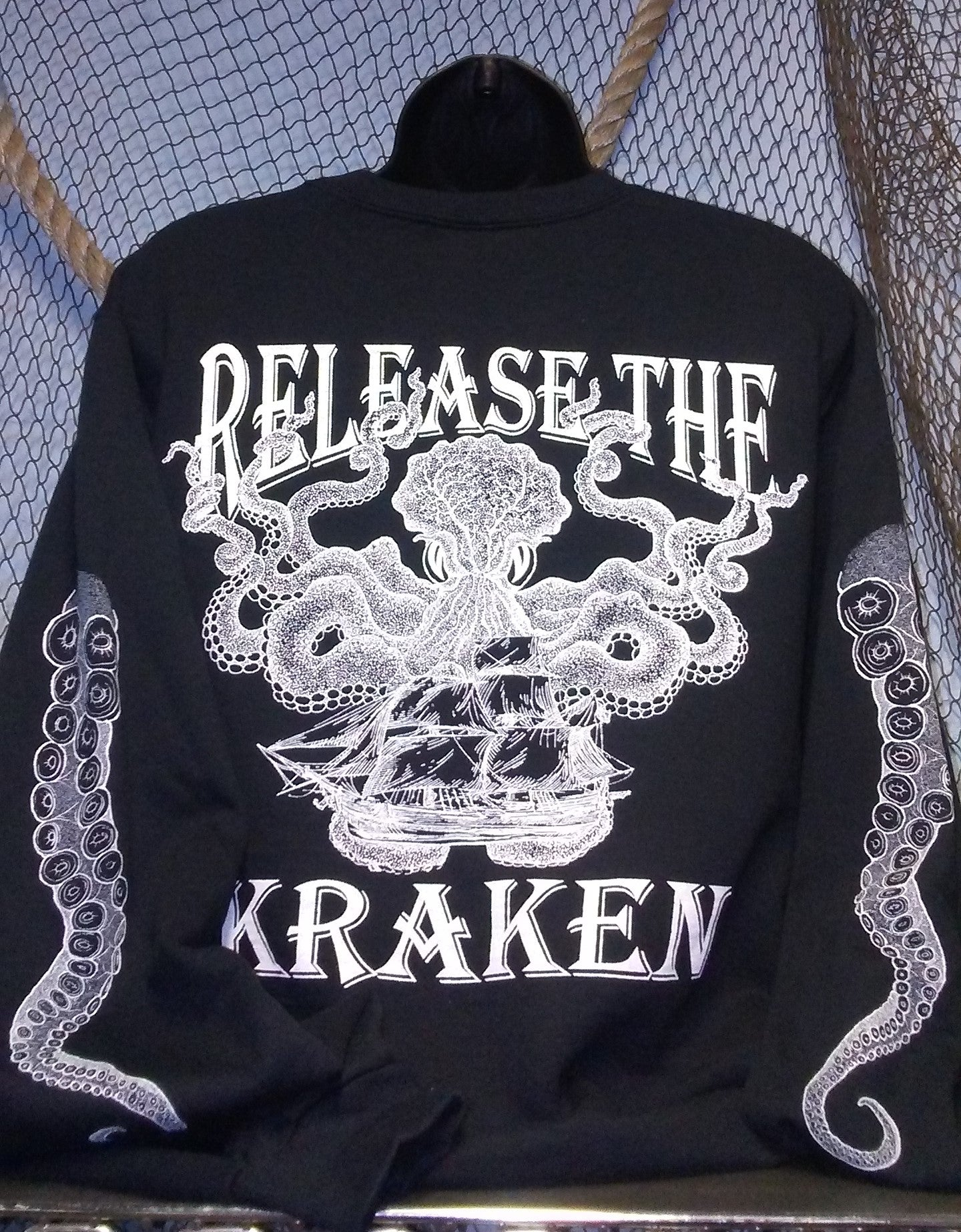 Crew Neck Sweatshirt - Release the Kraken Black