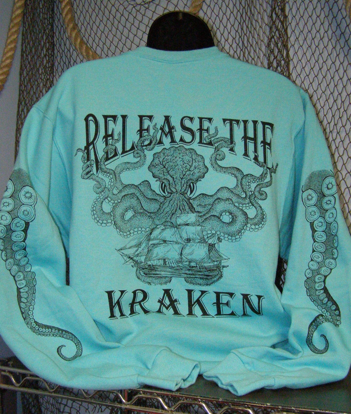 Crew Neck Sweatshirt - Release the Kraken Scuba Blue