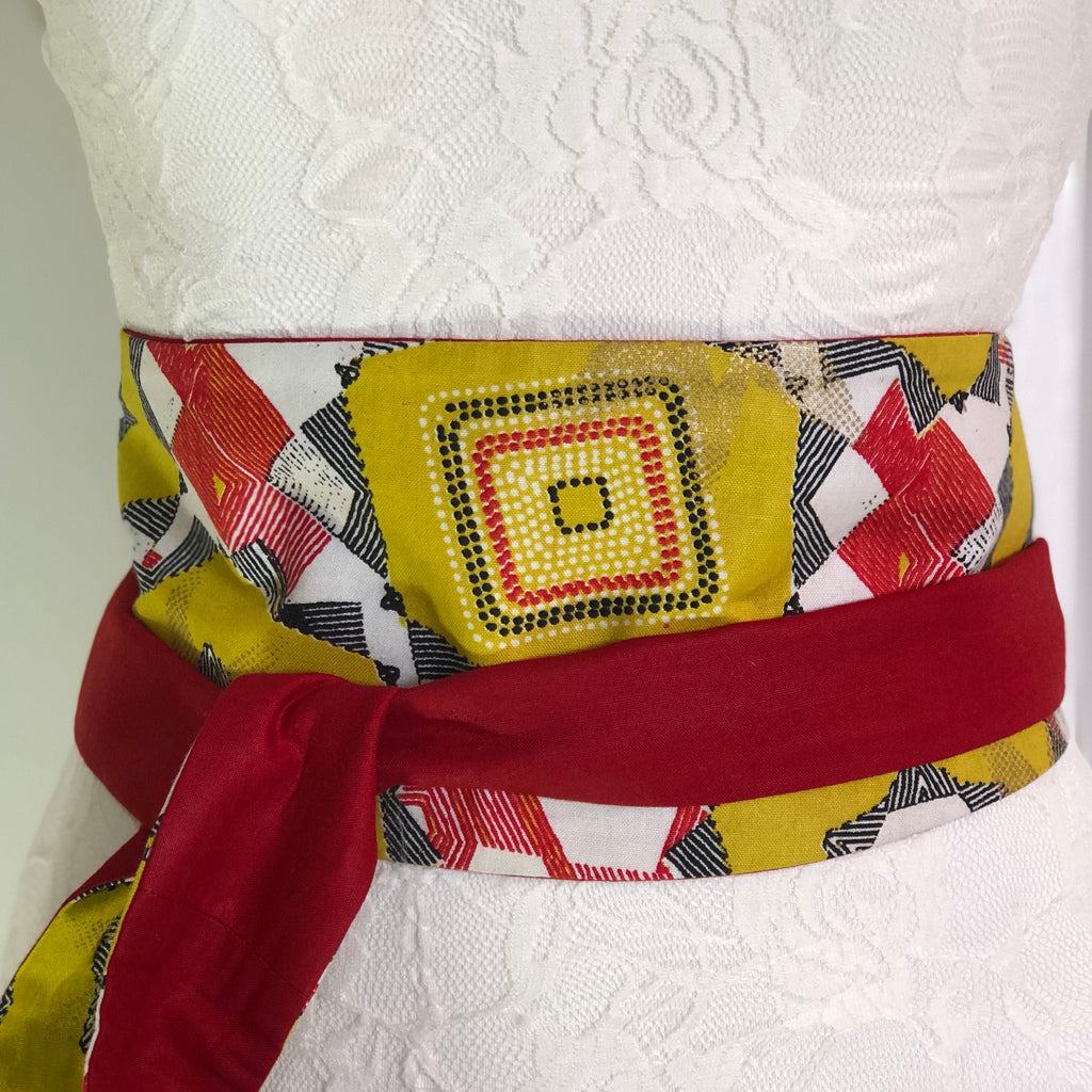 Msichana:Reversible Wrap Belt - red solid,Yellow