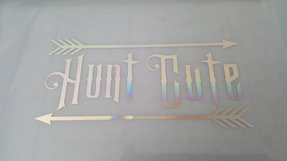 Silver Metallic Hunt Cute Vinyl Decal