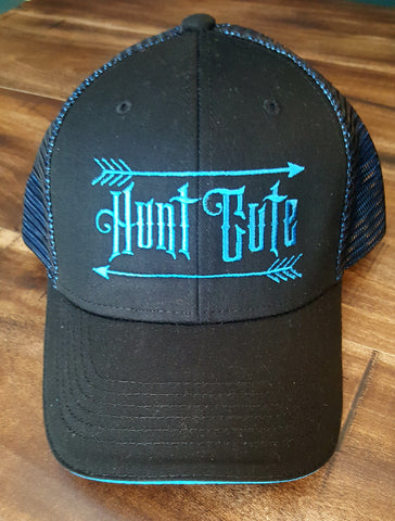Trucker Black Hat with Bright Blue Hunt Cute Logo