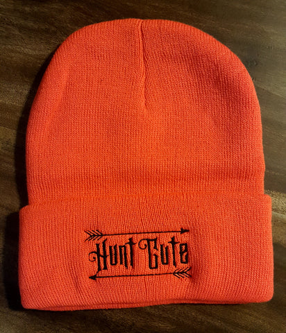 Orange Knit Beanie Hunt Cute