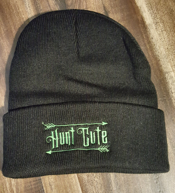 Black Knit Beanie Hunt Cute