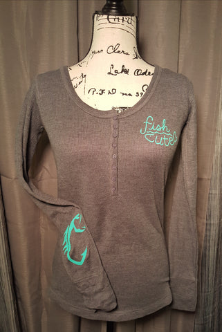 Fish Cute Long Sleeve Grey Thermal with Teal Fish Hook