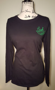 Black Long Sleeve T-Shirt with Bright Green Fish Cute