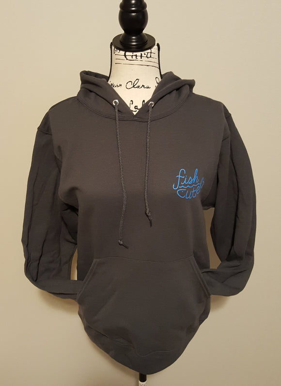 Double Printed Fish Cute Hoodie Charcoal Grey with Bright Blue Print