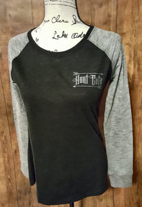Grey and Black Hunt Cute Long Sleeve Elbow Patch Shirt