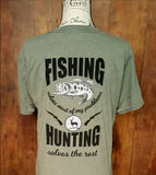 Green Heather Hunting and Fishing T-Shirt