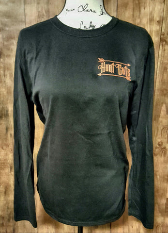Black Long Sleeve T-Shirt with Orange Hunt Cute