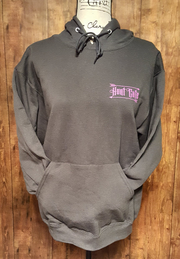 Double Printed Hunt Cute Hoodie Charcoal Grey with Purple Print