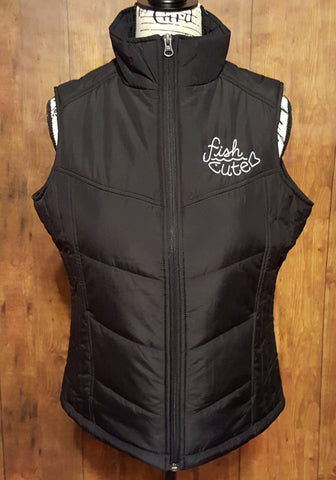Black Puffer Vest with our Fish Cute Logo