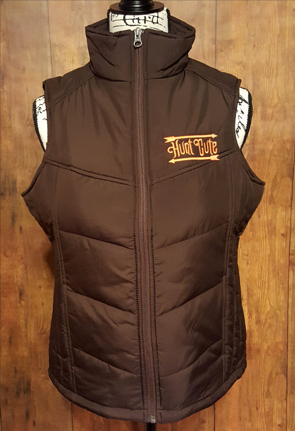 Brown Puffer Vest With Our Bright Orange Hunt Cute Logo