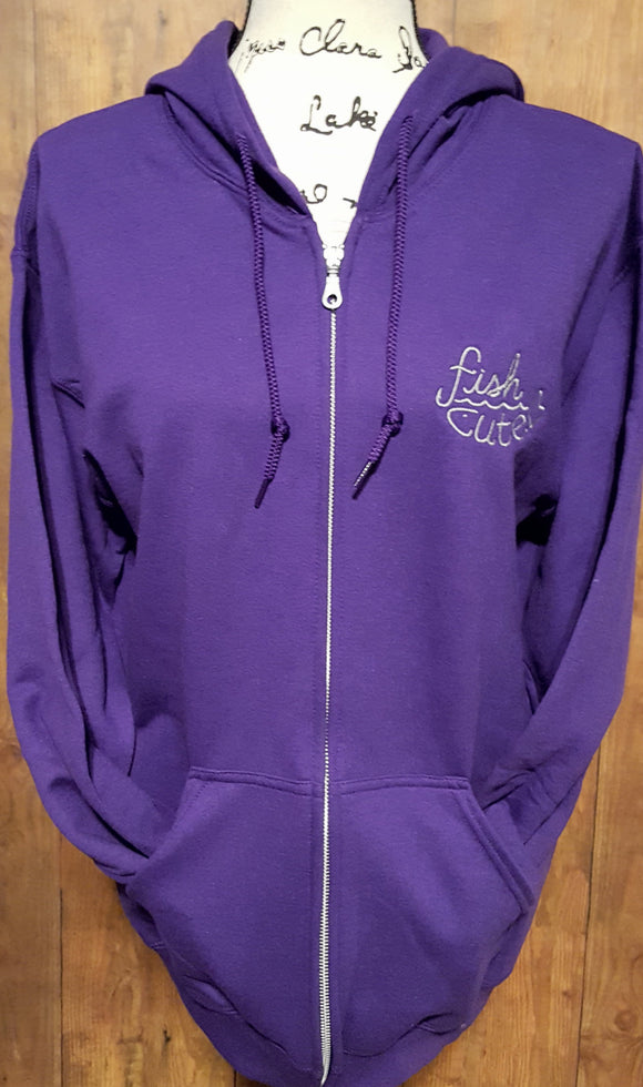 Purple Full Zip-Up Fish Cute Hoodie