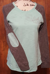 Fish Cute Mint Green and Grey Elbow Patch Long Sleeve Shirt