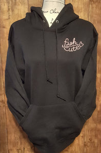Black Hoodie Double Sided Fish Cute in Pink