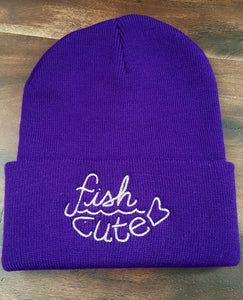 Purple with Silver Stitching Fish Cute Beanie