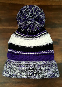 Purple White and Black Pom Pom Knit Fish Cute Hat