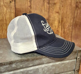 Navy & Off White Fish Cute Trucker Hat