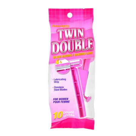 AFEITADORAS ASSURED, TWIN DOUBLE, (10 UNIDADES)