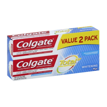 COLGATE TOTAL WHITENING, TWO PACK, TWO 4.8-oz/(136 g)
