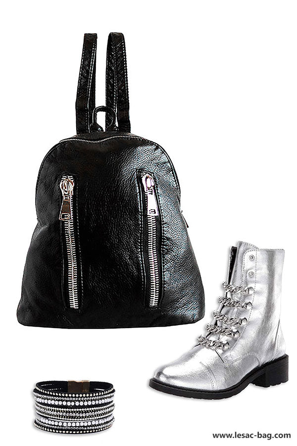 backpack for women with silver zipper