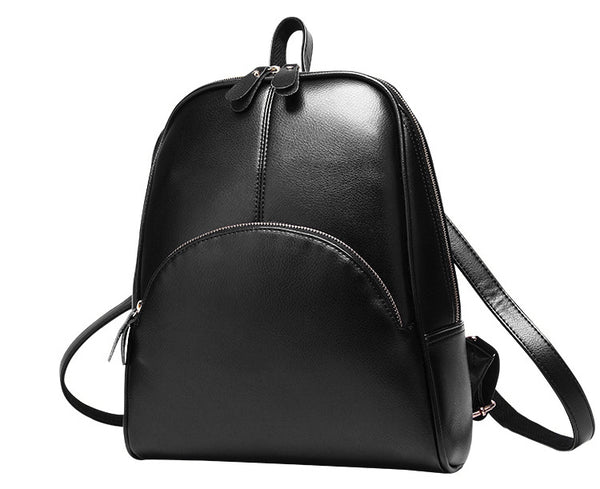 black backpack with gold zippers